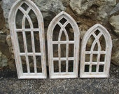 Mix-N-Match White Gothic Architectural Arched Church Window, Primitive Farmhouse Wood Window, Shabby Wall Decor