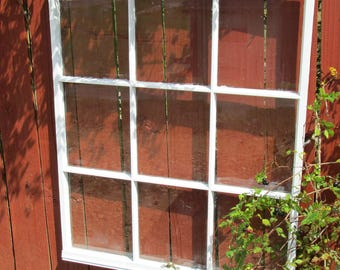 Vintage antique 9 pane36x29.5 wood window sash wedding picture frame #173