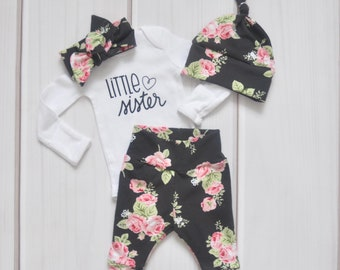 26d81e159 Little Sister Going Home Outfit - Floral Hospital Take Home Set - Baby  Shower Gift Set Girl