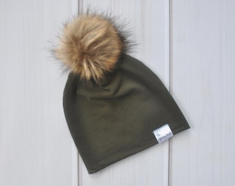 910df69d203 Olive Slouchy Beanie Hat with Removable Faux Fur Pom