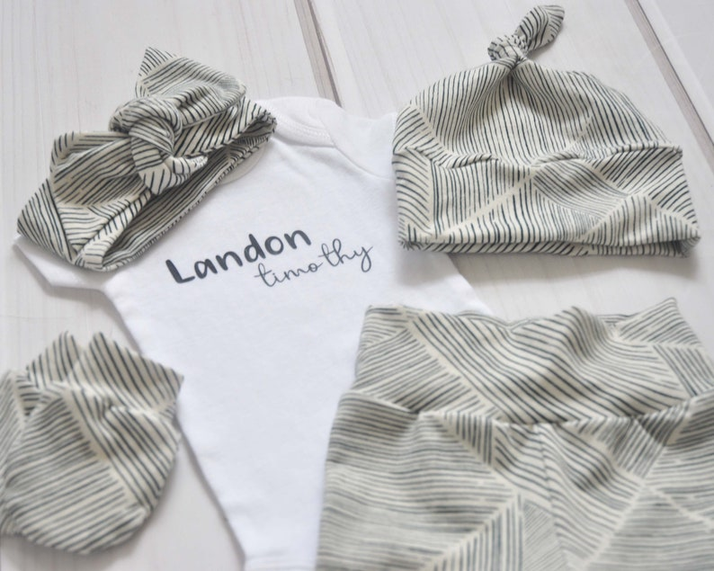 Monochrome Geometric Infant Outfit Personalized Newborn Coming Home Outfit Baby Shower Gift Hospital Outfit Take Home Outfit