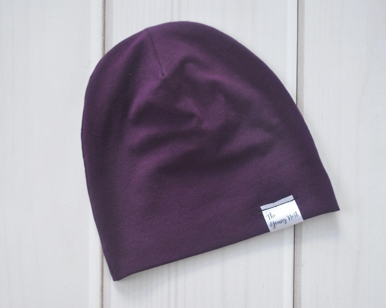 02be11974fb Dark Purple Slouch Beanie Fall Hat for Babies Children or
