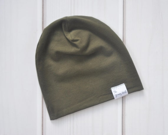 963f94ea7e4 Olive Green Slouch Beanie Solid Colour Beanies Slouchy Hat