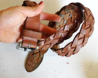 Brown genuine leather braided belt woven distressed one size fits all vintage 90s