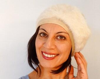 6f9cd49544b White angora Kangol beret with pompom bohemian women beret hat furry wool  woollen hat vintage