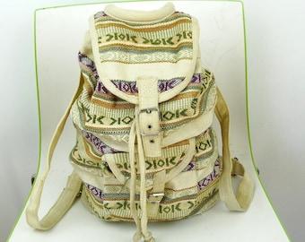 Canvas woven backpack vegan canvas rucksack city back pack hippie backpack  boho 70ae4c44b4
