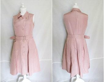 Prada silk dress shirtdress size 10 pink black polka dot trench belted sleeveless dress vintage Prada