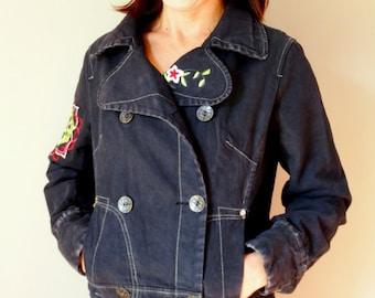 0c76026fba ... ShellysRelics Pastel Blue  factory price 012ae dca74 Cropped bomber  jacket denim bomber grunge 90s women embroidered winter jacket black ...