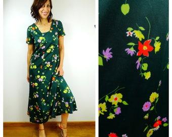 d09bd3a66c1 des années 70 boho robe des années 1970 boho robe maxi robe à fleurs robe  longue vert empire taille maxi robe vintage des années 70 taille moyen