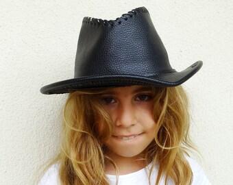 In pelle cappello western in pelle cappello da cowboy cappello da cowboy  nero vegano in pelle cappello rodeo cappello hipster cappello vintage anni    90 b213e16ba776