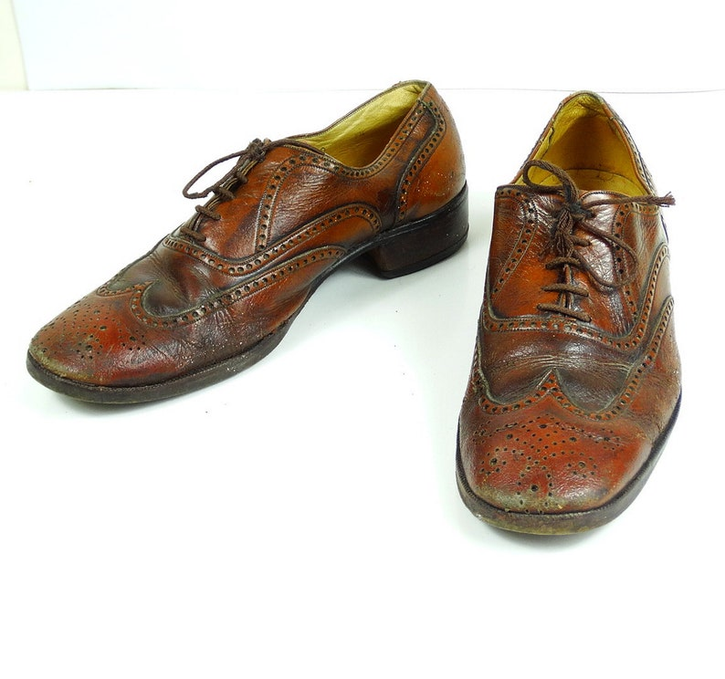 09bca6c6b57cf Mens Oxford shoes wingtip size 8 saddle shoes brogue brown leather jazz  shoes vintage made in Portugal size 40 41