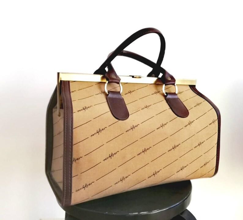 Vintage doctors bag doctors satchel leather canvas satchel overnight bag weekender bag doctor bag vintage New train case