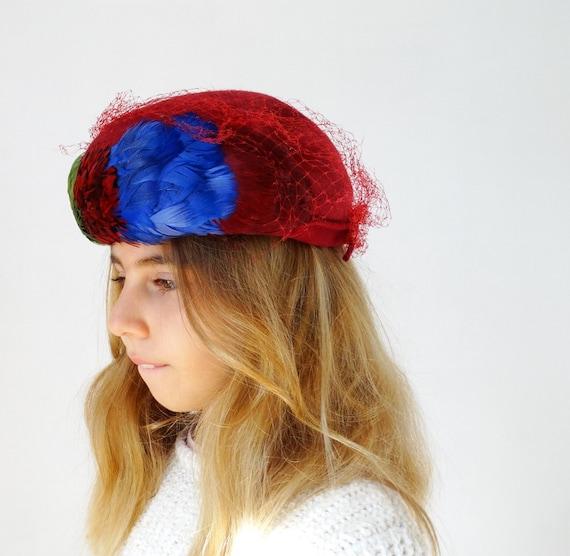 1950s 1960s womens pillbox hat fascinator hat wit… - image 4