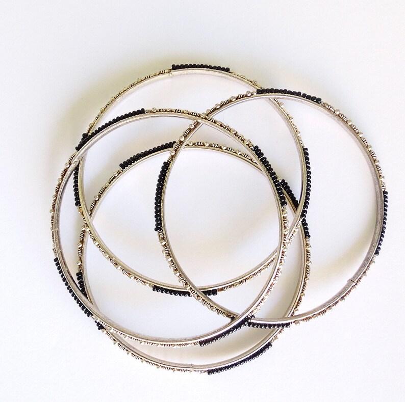 LOT of 4 Gypsy bangles metal cuff bracelets boho bangles bohemian steel metal bracelets lot vintage 1990s 90s bangels