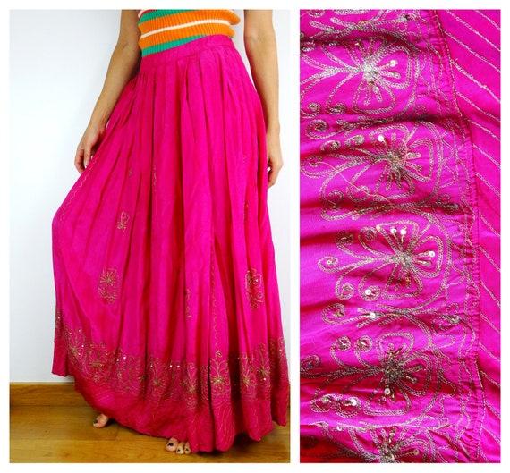 Gypsy skirt magenta maxi skirt long pink skirt boh