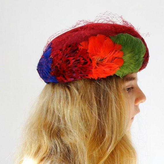 1950s 1960s womens pillbox hat fascinator hat wit… - image 6