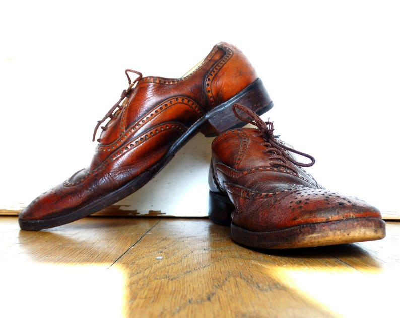 6f9a9dcc50f06 Oxford shoes wingtip size 7 1/2 saddle shoes brogue brown leather jazz  shoes vintage made in Portugal size 40