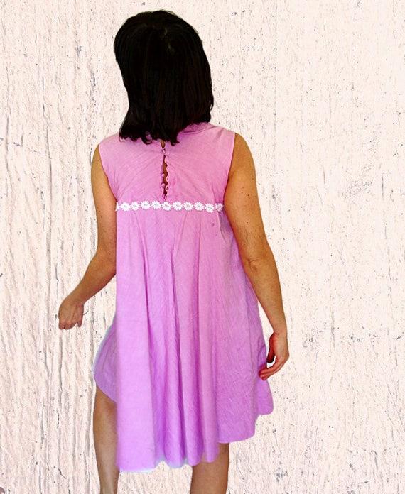 pink peter M tent 60s collar babydoll skirt pen Womens vintage waisted dress summer size 8 dress full high dress sleeveless dress fuchsia 1tazaUq6