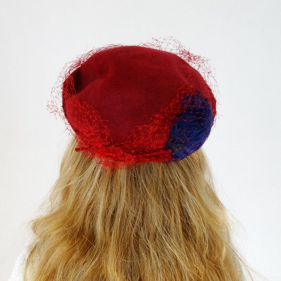 1950s 1960s womens pillbox hat fascinator hat wit… - image 5
