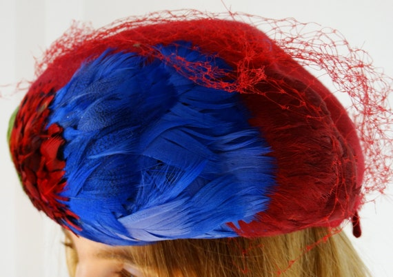 1950s 1960s womens pillbox hat fascinator hat wit… - image 2