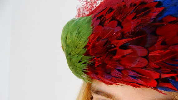 1950s 1960s womens pillbox hat fascinator hat wit… - image 3
