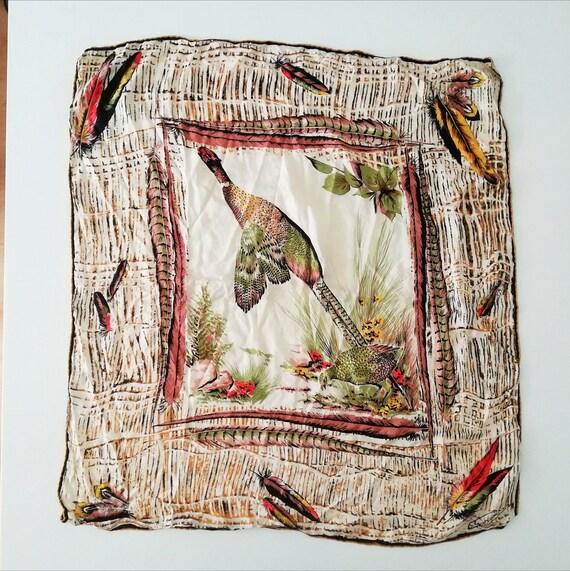 Silk scarf vintage womens scarf silk   Chardom Fra