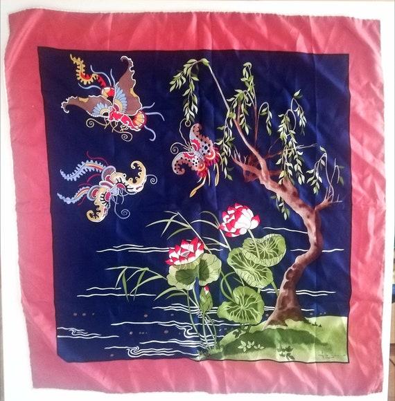 Fittorio Silk scarf vintage Art scarf womens silk