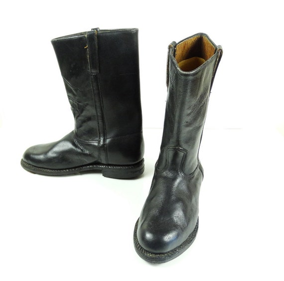 Vintage Kombinierer Stiefel Hohe Lederstiefel Herren Schwarz Militärische Knie Armee jpqSzULMVG