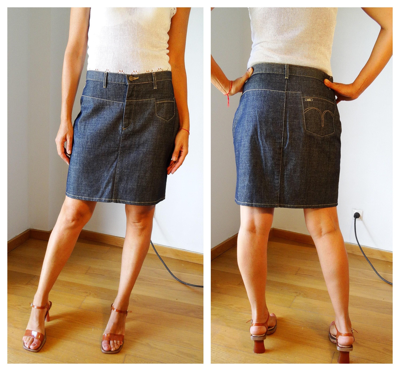 mini jupe en jean poches denim fonc jupe crayon courte en. Black Bedroom Furniture Sets. Home Design Ideas