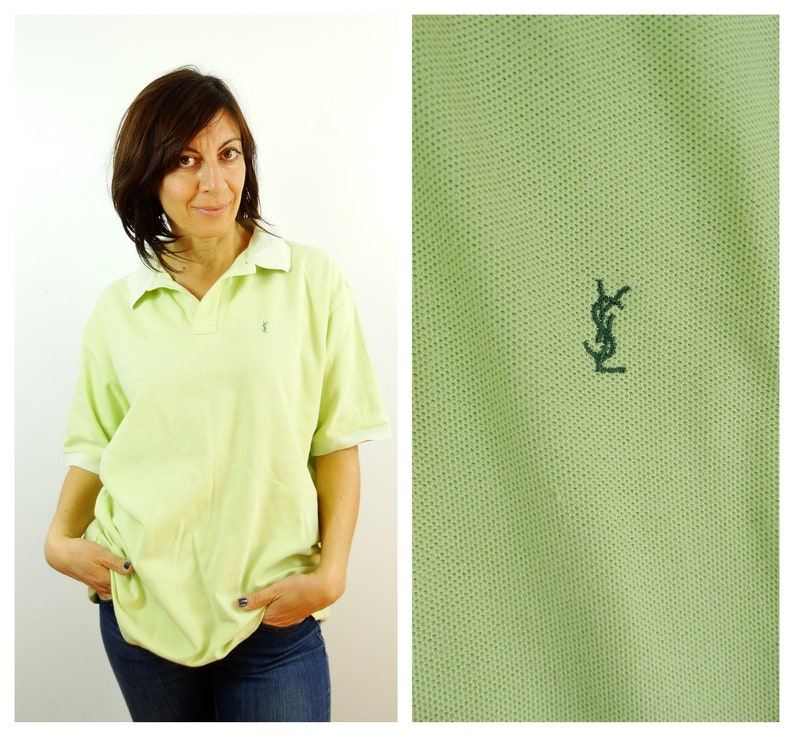 a36ab55eb Mens YSL polo shirt size L Large green t-shirt collared Plus