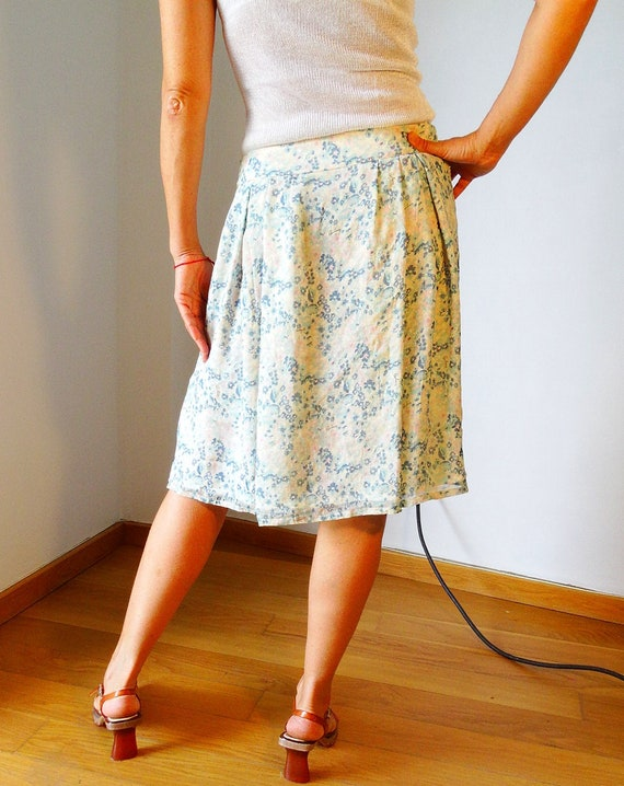 Genuine pink floral woman monogrammed silk knee below 90s the Burberry vintage skirt blue pleated London lined r0FrqnY