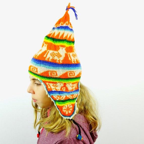 46d6970d6 Vintage Chullo hat for kids orange Peruvian Chullo hat wool Chullo hat  Bolivian knit hat rainbow hat hand knitted hat