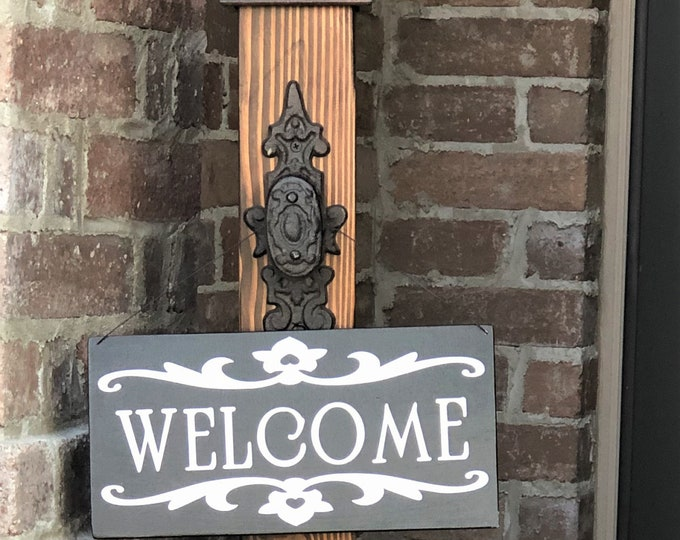 Decorative Welcome Porch Post with Welcome Sign
