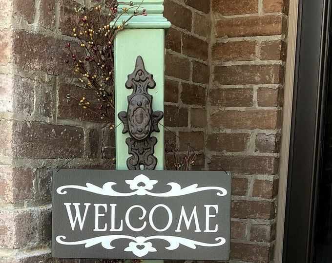 Decorative Porch Post With Decorative Welcome Sign