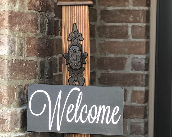 Decorative Porch Post with Welcome Sign