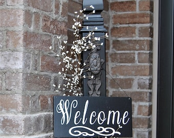 Decorative Porch Post, Decorative Welcome Sign, Front Door sign Post