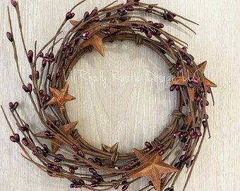"""Burgundy Rusty Star, 4.5"""" Candle Ring, Country Candle"""
