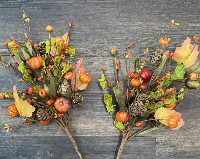 Orange Pumpkin, Green Leaves, Pine Cone and Acorn, Pip Berry Pick, Fall, Thanksgiving