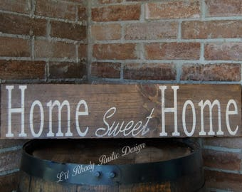 Home Sweet Home Sign,Rustic Home Decor, Hand Painted Sign, Reclaimed Wood Sign