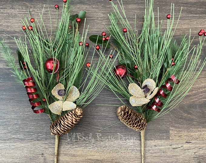 "Holly Berry, Pine Cone, Red Bells with Burlap Glitter Flowers, Red Metal Ribbon, and Pine Needle, 20"" Pip Berry Pick, Christmas Pick"