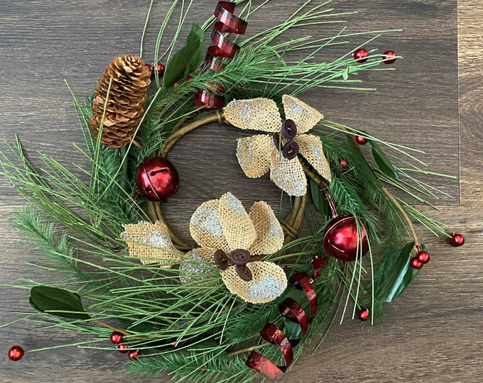 "Holly Berry, Pine Cone, Red Bells with Burlap Glitter Flowers and Pine 4.5"" Candle Ring, Floral Candle Ring, Christmas Candle Ring"