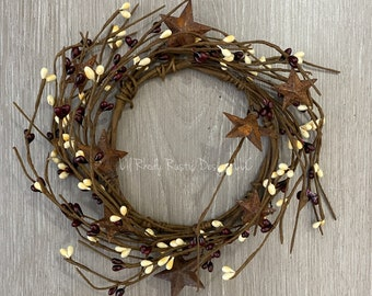 """Burgundy and Cream, Rusty Star, 4.5"""" Candle Ring, Country Candle"""