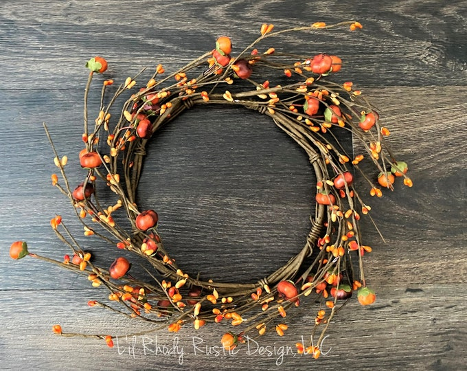 """Orange Pumpkin, Pip Berry 6.5"""" Candle Ring, Floral Candle Ring, Fall Candle Ring, Thanksgiving Candle Ring"""