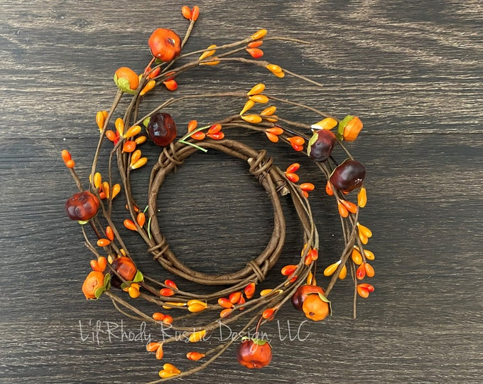 """Orange Pumpkin, Pip Berry 2.5"""" Candle Ring, Floral Candle Ring, Fall Candle Ring, Thanksgiving Candle Ring"""