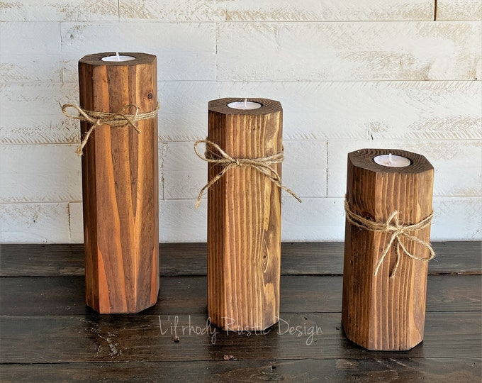 Rustic Wood Block Tealight Candle Holders