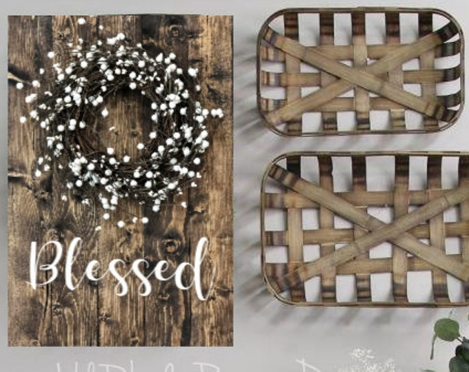 Blessed Rustic Wood Sign with Pip Berry Wreath