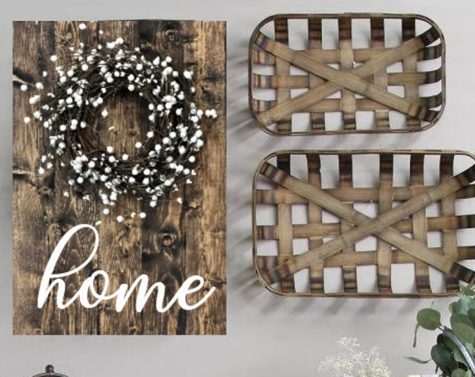 Home Rustic Wood Sign with Pip Berry Wreath