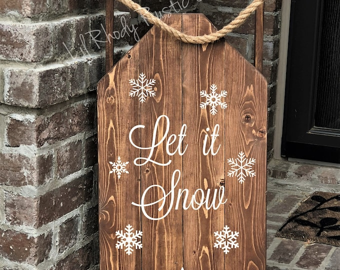 Decorative Wood Porch Sled, Decorative Porch Sleigh, Let it Snow
