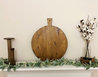 Large Circular Breadboard, Display Board, Charcuterie Board, Repurposed, Reclaimed Wood, Vintage Wood Cheese Board