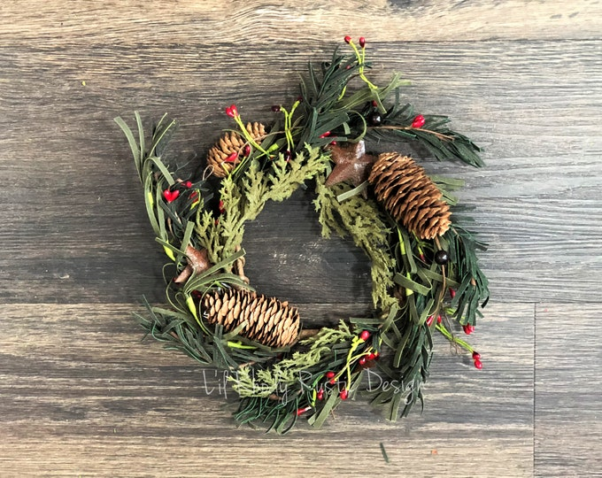 """Rusty Barn Star, Pine Cone, Red Pip Berry Pine 4.5"""" Candle Ring, Country Candle, Christmas Candle Ring"""